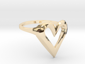 FLYHIGH: Skinny Heart Ring 15mm in 14K Yellow Gold