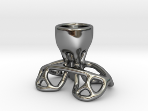 Arc Candle Holder (single) in Fine Detail Polished Silver