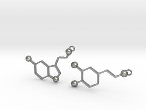 Dopamine & Serotonin Earrings in Natural Silver
