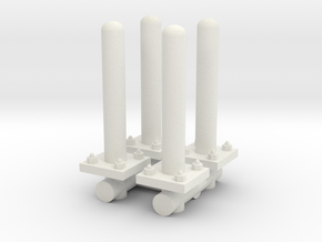 Safety Poles (x4) 1/35 in White Natural Versatile Plastic
