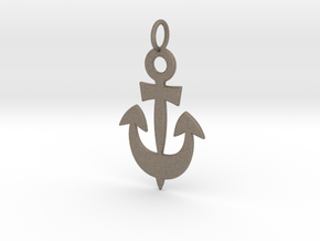 Anchor Symbol Pendant Charm in Matte Bronzed-Silver Steel