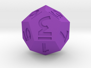 Dozenal d10 [d12] in Purple Processed Versatile Plastic