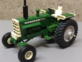 """1/64 Scale 38"""" Silver/Green Rear Wheel and Tire in Smooth Fine Detail Plastic"""