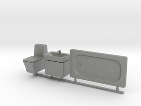 Bathroom Set 01. 1:24 Scale in Gray PA12