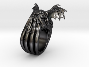 Cthulhu Ring in Polished Grey Steel