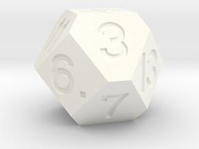d14 Cuboctahedron Variant in White Processed Versatile Plastic