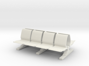8 Waiting Room Seats 1/56 in White Natural Versatile Plastic