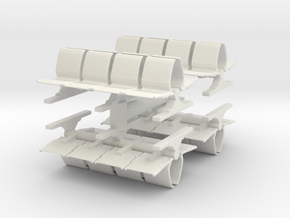 8 Waiting Room Seats (x4) 1/144 in White Natural Versatile Plastic