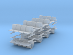 8 Waiting Room Seats (x8) 1/220 in Smooth Fine Detail Plastic