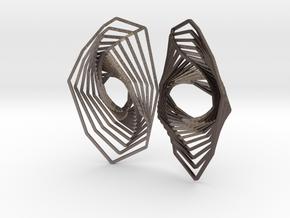 Swirl Volute earrings in Polished Bronzed-Silver Steel