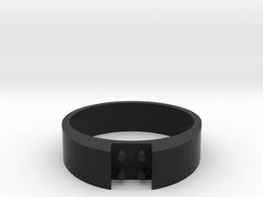 4-bit ring (US8 /⌀18.2mm) in Black Natural Versatile Plastic