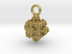 Cubiiic pendant (25 x 33mm) in Natural Brass
