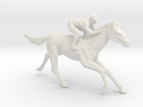 O Scale Jockey and Horse in White Natural Versatile Plastic