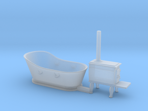 S Scale Copper Bathtub and Iron Stove in Smooth Fine Detail Plastic