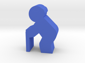Old Man meeple, side in Blue Processed Versatile Plastic
