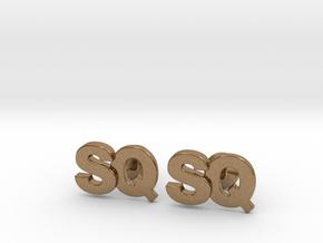 Monogram Cufflinks SQ in Natural Brass