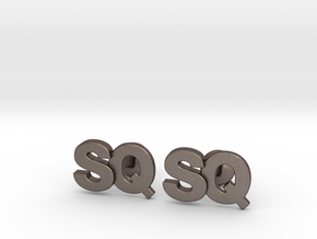 Monogram Cufflinks SQ in Polished Bronzed Silver Steel