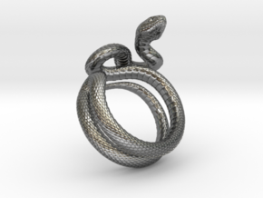 Snake Ring_R03 in Polished Silver: 8 / 56.75
