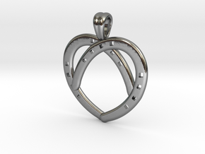 Heart by horseshoes [pendant] in Polished Silver