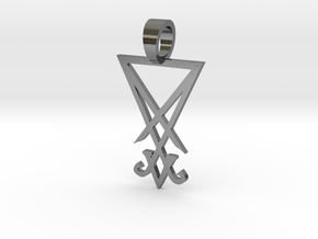 Lucifer Sigil pendant in Polished Silver
