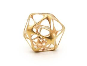 Icosahedron-dodecahedron Pendant - Yin in Natural Brass (Interlocking Parts)
