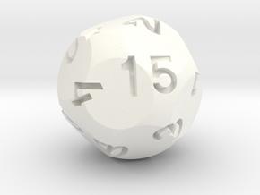 d15 Sphere Dice Alt in White Processed Versatile Plastic