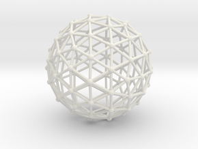 Icosahedron Sphere in White Natural Versatile Plastic