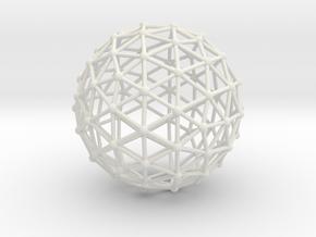 Icosahedron Sphere in White Natural Versatile Plastic