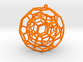 fullerene ball in a ball bauble ornament in Orange Processed Versatile Plastic