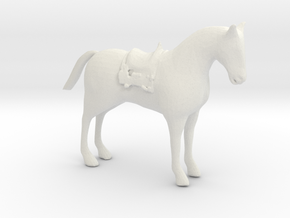 HO Scale Saddle Horse in White Natural Versatile Plastic