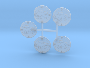 5 Rampant wolf storm shields with decorative rim in Smooth Fine Detail Plastic