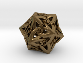 Celtic D20 in Natural Bronze