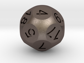 D18 Sphere Dice in Polished Bronzed Silver Steel