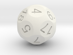 D18 Sphere Dice in White Natural Versatile Plastic