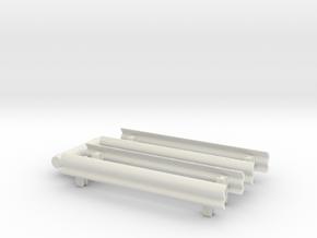 Guard Rail (x4) 1/87 in White Natural Versatile Plastic