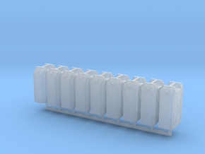 1/24 MILITARY 22lt PLASTIC WATER JERRY CAN 8 PACK in Smooth Fine Detail Plastic