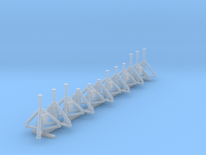 1:200 Aircraft Jacks 12pc in Smooth Fine Detail Plastic