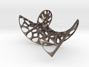 spiral pendant in Polished Bronzed-Silver Steel: Medium