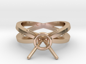 Double band engagement ring mount in 14k Rose Gold