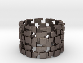Borg Cube Ring Size 8 in Polished Bronzed Silver Steel