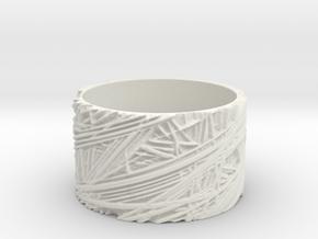 Fibres Ring Size 8 in White Natural Versatile Plastic