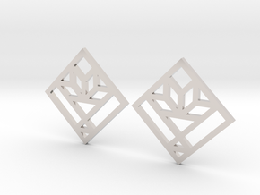 Cactus Basket Quilt Block Earrings - Dangle in Platinum