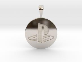 PS logo pendant in Platinum: Small