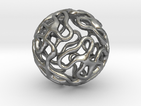 Gyroid Sphere Pendant in Natural Silver
