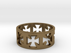 Outlaw Biker Cross Ring Size 12 in Natural Bronze