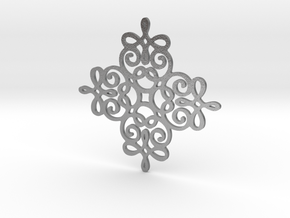 Quad Flourish Pendant in Natural Silver