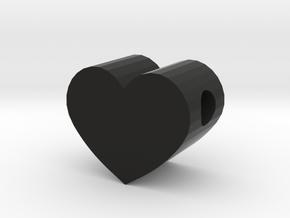 Small Simple Heart Slide Pendant - 1cm diameter in Black Natural Versatile Plastic