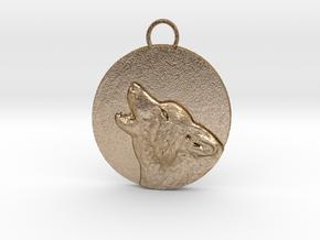 wolf in moon best1 in Polished Gold Steel