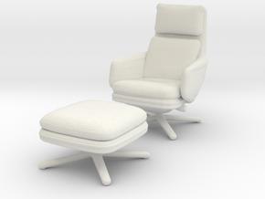 Miniature Grand Relax & Ottoman in White Natural Versatile Plastic: 1:12