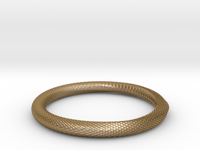 Snake Bracelet_B04 _ Mobius in Polished Gold Steel: Small